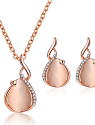 cheap -Women's Drop Earrings Pendant Necklace 3D Pear Stylish Unique Design Rhinestone Earrings Jewelry Pink For Daily Evening Party 1 set