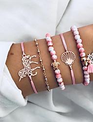 cheap -5pcs Women's Bead Bracelet Vintage Bracelet Earrings / Bracelet Artistic Romantic Fashion Cute Elegant Hemp Rope Bracelet Jewelry Pink For Daily School Street Going out Festival / Pendant Bracelet