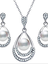 cheap -Women's Drop Earrings Pendant Necklace 3D Pear Cheap Stylish Classic Elegant fancy Imitation Pearl Rhinestone Earrings Jewelry Gold / Silver For Gift Daily 1 set