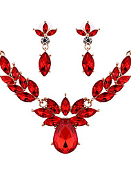 cheap -Women's Crystal Drop Earrings Pendant Necklace Briolette Classic Vintage European Earrings Jewelry Red / Champagne For Party Ceremony Festival 3pcs / pack