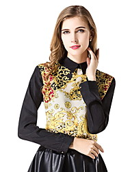 cheap -2019 New Arrival Blouses Women's Slim Blouse - Floral Shirt Collar Yellow One-Size Blusas Mujer Chemise Femme