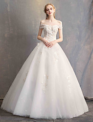 cheap -Ball Gown Off Shoulder Floor Length Lace / Tulle / Lace Over Satin Short Sleeve Made-To-Measure Wedding Dresses with Appliques 2020