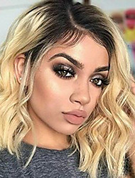 cheap -Virgin Human Hair Lace Front Wig Bob Deep Parting Beyonce style Brazilian Hair Wavy Blonde Wig 150% Density with Baby Hair Thick with Clip With Bleached Knots Women's Short Human Hair Lace Wig