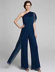cheap -Pantsuit / Jumpsuit One Shoulder Floor Length Mesh Sleeveless Jumpsuits Mother of the Bride Dress with Ruffles 2020