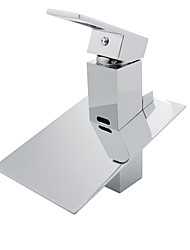 cheap -Bathroom Sink Faucet - Waterfall / LED Chrome Free Standing Single Handle Two HolesBath Taps / Brass