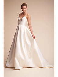 cheap -A-Line Wedding Dresses V Neck Court Train Satin Spaghetti Strap Little White Dress Open Back Sexy with Draping Side-Draped 2021