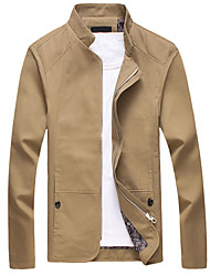 cheap -Men's Daily Fall Regular Jacket, Solid Colored Stand Long Sleeve Polyester Beige / Navy Blue / Khaki / Slim