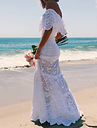 cheap -A-Line Off Shoulder Floor Length Lace Elegant / Vintage Inspired Formal Evening / Holiday Dress 2020 with Lace Insert