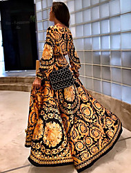 cheap -A-Line Empire Gold Holiday Beach Dress V Neck Long Sleeve Floor Length Taffeta with Pattern / Print 2020