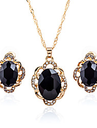 cheap -Women's Crystal Stud Earrings Pendant Necklace Briolette Pear Simple European Sweet Rhinestone Earrings Jewelry Black / Blue For Party Ceremony Festival 3pcs / pack