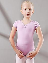 cheap -Kids' Dancewear / Ballet Leotards Girls' Training / Performance Cotton Ruching Short Sleeve Natural Leotard / Onesie