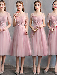 cheap -A-Line Sweetheart Neckline Knee Length Tulle Bridesmaid Dress with Lace