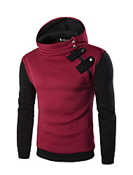 cheap -Men's Hoodie Color Block / Solid Colored Hooded Hat / Simple / Classic Style Loose Black Red Light gray Dark Gray M L XL XXL
