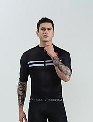 cheap -BOESTALK Men's Short Sleeve Cycling Jersey Black Black / White Bike Shirt Jersey Compression Clothing Mountain Bike MTB Road Bike Cycling Moisture Wicking Sports Jersey Milk Fiber Clothing Apparel
