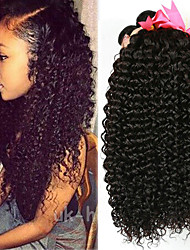 abordables -Lot de 4 Cheveux Brésiliens Kinky Curly Paquets de 100% Remy Hair Weave Casque Tissages de cheveux humains Bundle cheveux 8-28 pouce Couleur naturelle Tissages de cheveux humains Sans odeur Soyeux