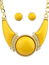 cheap -Women's Statement Necklace Earrings Geometrical Artisan Stylish Trendy Elegant Oversized Earrings Jewelry Yellow For Daily Date 1 set