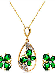 cheap -Women's Green Crystal Necklace Earrings Classic Butterfly Stylish Artistic Sweet Lolita Gold Plated Imitation Diamond Earrings Jewelry Gold For Party Evening Party Formal 3pcs