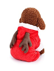 cheap -Dogs Costume Coat Outfits Winter Dog Clothes Brown Red Costume Corgi Beagle Bulldog 100% Coral Fleece Solid Colored Character Warm Ups Christmas XS S M L XL