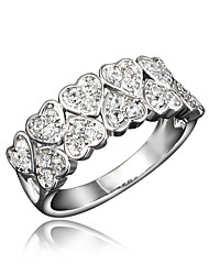 cheap -Women's Ring Cubic Zirconia 1pc Gold Silver 18K Gold Plated Imitation Diamond Round Stylish Luxury Romantic Party Engagement Jewelry Classic Heart Heart Lovely