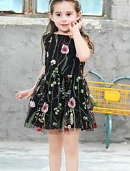 cheap -Kids Girls' Floral Mesh Dress Black