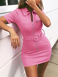cheap -Women's Mini Bodycon Dress - Short Sleeve Solid Colored Summer Shirt Collar Basic Slim Black Blue Yellow Blushing Pink S M L XL XXL