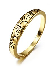 cheap -Women's Band Ring 1pc Yellow Gold Plated Alloy Geometric Unique Design Vintage European Party Gift Jewelry Retro Sun Cool