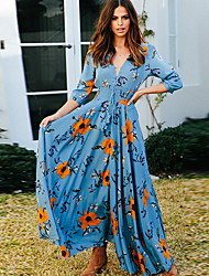 cheap -2019 New Arrival Women Maxi Dress Robe Femme Vestidos Fashion Print V Neck Long Sleeve Spring Floral Dresses
