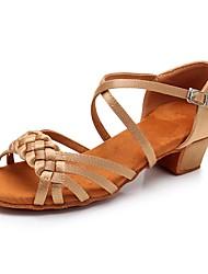 Недорогие -Жен. Танцевальная обувь Сатин Обувь для латины Блеск / Crystal / Rhinestone На каблуках Толстая каблук Персонализируемая Черный / Коричневый / Телесный / Выступление / Кожа / Тренировочные
