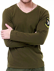 cheap -Men's Solid Color Hiking Tee shirt Long Sleeve Outdoor Breathable Stretchy Comfortable Tee / T-shirt Top Autumn / Fall Spring Terylene V Neck White Green Hunting Climbing Military / Tactical