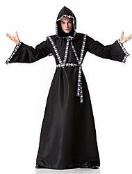 cheap -Wizard Cosplay Costume Cloak Adults' Men's Halloween Halloween Masquerade Festival / Holiday Polyster Black Carnival Costumes Solid Colored