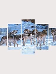 Недорогие -С картинкой Роликовые холсты Отпечатки на холсте - Животные запутанный Современный Modern 5 панелей Репродукции