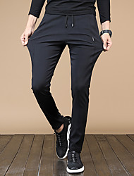 cheap -Men's Running Pants Track Pants Sports Pants Harem Drawstring Cotton Sports Pants / Trousers Gym Workout Lightweight Windproof Breathable Plus Size Solid Colored Fashion Black / Micro-elastic