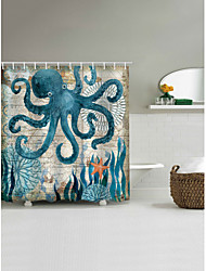 cheap -Bathroom Shower Curtains with Hooks Octopus Pattern 3D Print Polyester Waterproof Shower Curtain