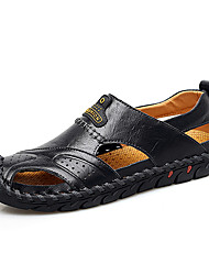 cheap -Men's Comfort Shoes PU Summer / Fall Casual Sandals Water Shoes / Walking Shoes Breathable Black / Brown / Light Brown