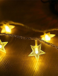 cheap -3m String Lights 20 LEDs Warm White White Multi Color Decorative Star AA Batteries Powered Batteries Powered 1pc