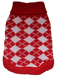 cheap -Dogs Coat Sweater Dog Clothes Red Costume Poodle Baby Pet Terylene Plaid / Check British Check Simple Style XS S M