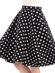 cheap -Women's Vintage Cotton Swing Skirts - Polka Dot Black S M L