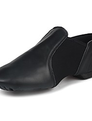 cheap -Men's Dance Shoes Nappa Leather Jazz Shoes Flat Flat Heel Customizable Black / Performance / Practice