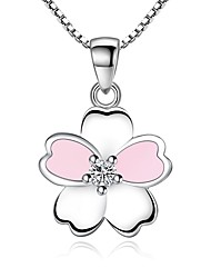 cheap -Women's Charm Necklace Flower Romantic Sweet Chrome Silver 45 cm Necklace Jewelry 1pc For Gift Formal