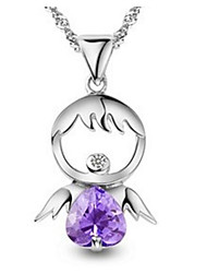 cheap -Women's Cubic Zirconia Pendant Necklace Classic Angel Wings Fashion S925 Sterling Silver Purple 45 cm Necklace Jewelry 1pc For Gift Daily