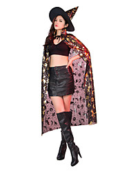 cheap -Witch Cosplay Costume Hat Cloak Adults' Women's Halloween Halloween Masquerade Festival / Holiday Polyster Silver / Golden Carnival Costumes Printing