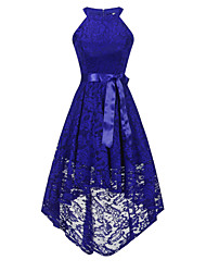 cheap -A-Line Hot Blue Homecoming Cocktail Party Dress Halter Neck Sleeveless Asymmetrical Lace with Sash / Ribbon Bow(s) 2020