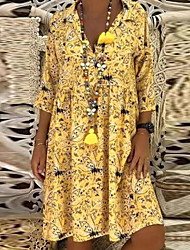 cheap -Women's 2020 Yellow Red Dress Spring & Summer Holiday Beach A Line Loose Shift Shirt Collar Floral Print S M Loose Oversized