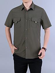 cheap -Men's Hiking Shirt / Button Down Shirts Short Sleeve Outdoor Breathable Quick Dry Softness Multi Pocket Shirt Top Summer Nylon Army Green Grey Khaki Cycling / Bike Traveling