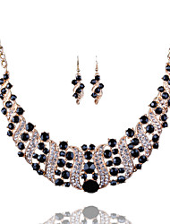 cheap -Women's Crystal Drop Earrings Bib necklace Retro Luxury Vintage Elegant Imitation Diamond Earrings Jewelry Red / Blue / Champagne For Party Ceremony Festival 3pcs / pack