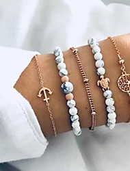 cheap -5pcs Women's Bead Bracelet Vintage Bracelet Earrings / Bracelet Unique Design Vintage Casual / Sporty Fashion Glass Bracelet Jewelry Gold For Daily School Street Going out Festival
