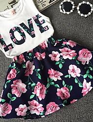 cheap -Kids Little Girls' Dress Floral Print White Dresses