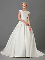 cheap -Princess Wedding Dresses Bateau Neck Court Train Satin Short Sleeve with Bow(s) Buttons 2021
