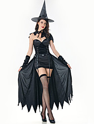 cheap -Witch Dress Cosplay Costume Hat Adults' Women's Dresses Halloween Halloween Carnival Masquerade Festival / Holiday Plush Fabric Black Carnival Costumes Solid Colored