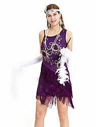 cheap -The Great Gatsby Charleston Vintage 1920s Flapper Dress Party Costume Masquerade Women's Sequins Sequin Costume Headbands Purple Vintage Cosplay Party Prom Dress Sleeveless Above Knee / Gloves